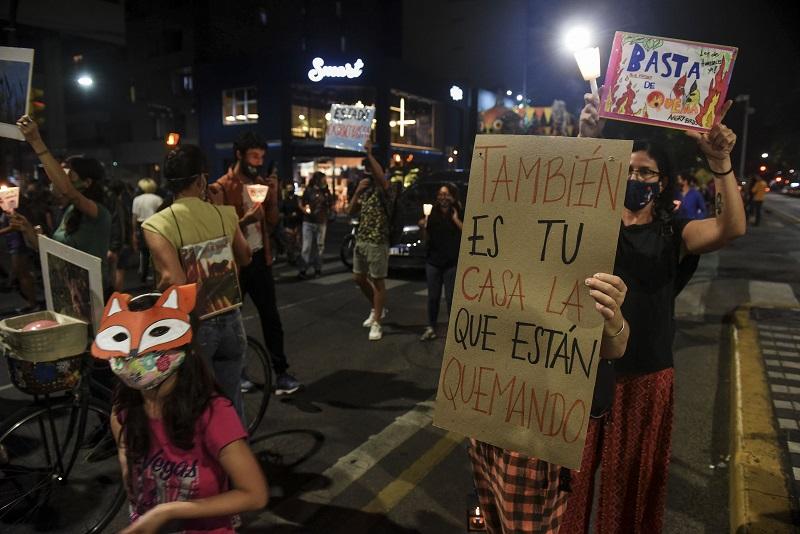 """Marcha de antorchas en Rosario para exigir la Ley de Humedales. Cartel con leyenda """"También es tu casa la que están quemando""""."""
